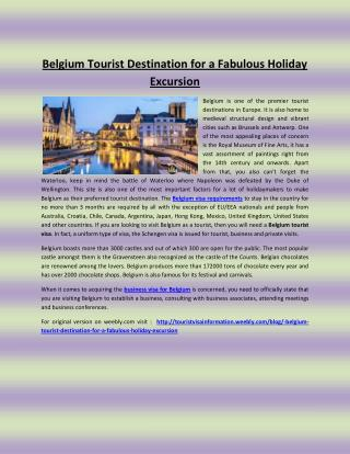 Belgium tourist destination for a fabulous holiday excursion
