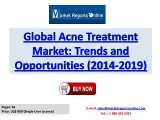 Acne Treatment Market Trends, Growth Drivers and Forecasts Analysis 2019