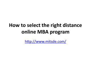 How to select the right distance online MBA program