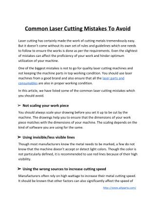 Common Laser Cutting Mistakes To Avoid