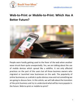 Web to print or mobile to print: which has a better future?