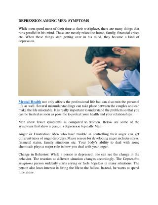 DEPRESSION AMONG MEN: SYMPTOMS