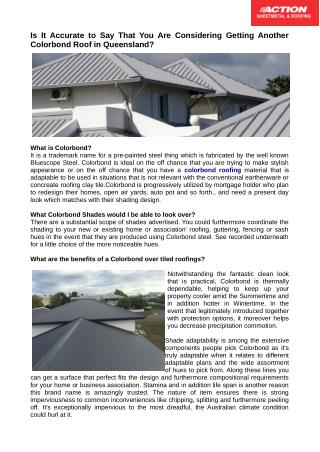Need a new colorbond roofing material in Queensland ?