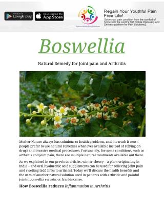 Boswellia natural remedy for joint pain and arthritis