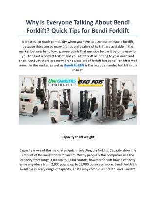 Bendi Forklift – Big Joe Lift