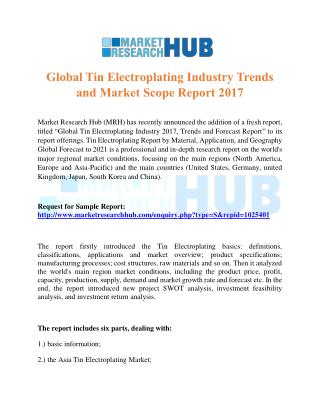 Global Tin Electroplating Industry Trends and Market Scope Report 2017