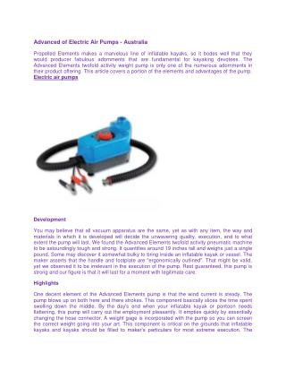 Advanced of Electric Air Pumps - Australia