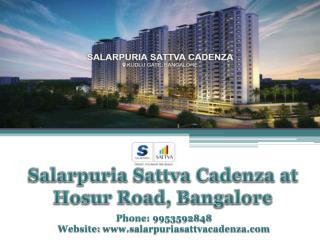 Buy Affordable Flats from Salarpuria Sattva Cadenza Homes in Bangalore | Call 9953592848