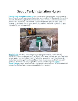 Septic Tank Installation Huron