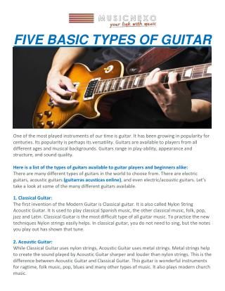 FIVE BASIC TYPES OF GUITAR