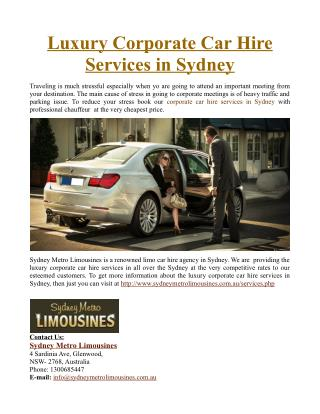 Luxury Corporate Car Hire Services in Sydney