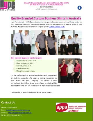 Quality Branded Custom Business Shirts in Australia