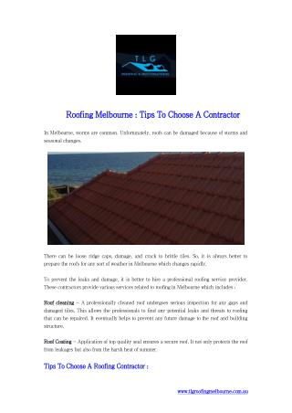 Roofing Melbourne Tips To Choose A Contractor