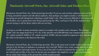 Mackenzie Aircraft Parts, Inc. Aircraft Sales and Finders Fees