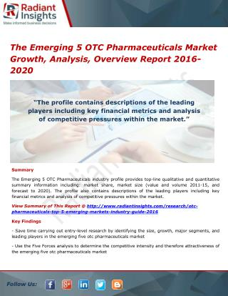 The Emerging 5 OTC Pharmaceuticals Market Size, Analysis and Forecasts 2016-2020