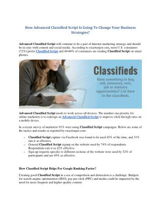 How Advanced Classified Script Is Going To Change Your Business Strategies