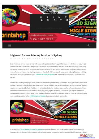 High-end Banner Printing Services in Sydney