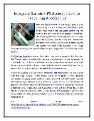 Integrate Garmin GPS Accessories into Travelling Accessories