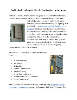 Quality Build Industrial Electric Dumbwaiter in Singapore