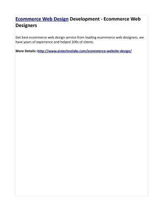 Ecommerce Web Design Development - Ecommerce Web Designers