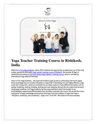 Yoga Teacher Training Course in Rishikesh, India