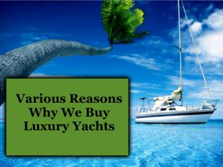 Various Reasons Why We Buy Luxury Yachts