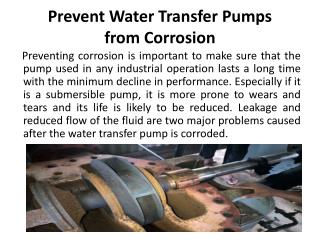 How to Prevent Water Transfer Pumps from Corrosion?
