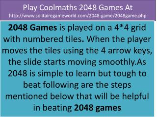 Refresh your mind by play 2048 game online