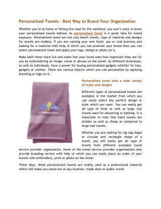 Personalised Towels - Best Way to Brand Your Organization