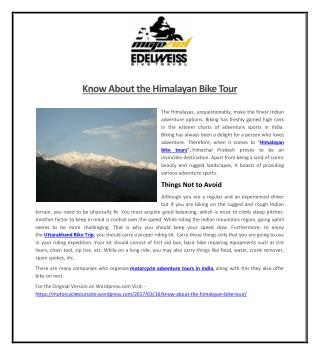 Know About the Himalayan Bike Tour