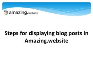 Steps for displaying blog posts in Amazing.website
