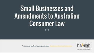 Small Businesses and Amendments to Australian Consumer Law