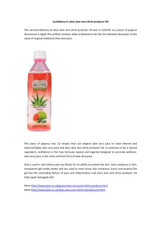 Confidence in alovi aloe vera drink producer UK