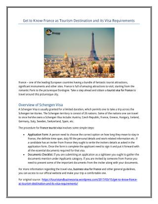Get to Know France as Tourism Destination and its Visa Requirements