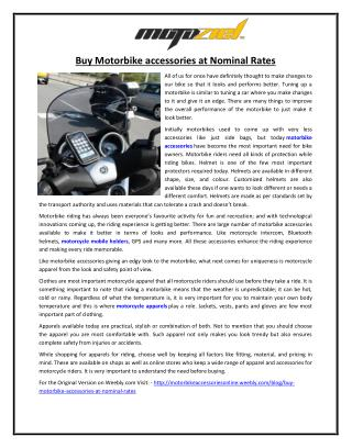 Buy Motorbike accessories at Nominal Rates