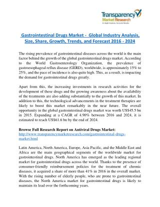 Gastrointestinal Drugs Market -  Global Industry Analysis, Size, Share, Growth, Trends, and Forecast 2016 - 2024