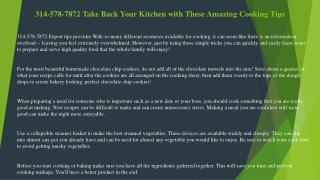 314-578-7872 Cooking Suggestions to Help You Out
