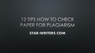 Check Paper For Plagiarism