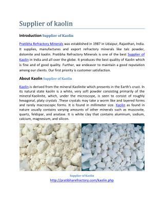 Supplier of Kaolin
