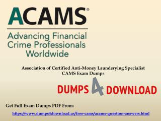 Get Verified ACAMS CAMS Exam Questions - Study Material
