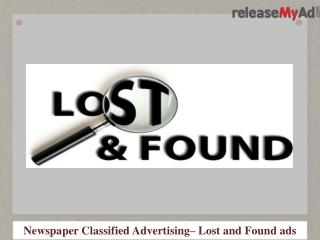 Lost and Found Advertisement in Newspaper