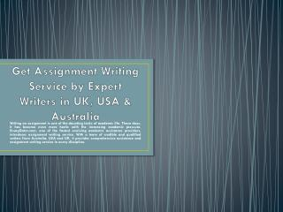 Assignment Writing Service - Get Professional Online Assignment Writing Help Australia