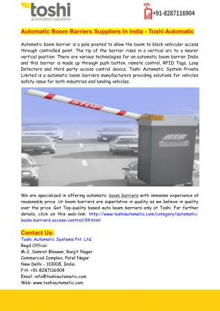 Automatic Boom Barriers Suppliers In India - Toshi Automatic