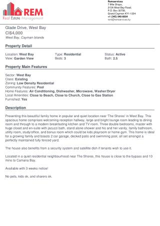 Glade Drive, West Bay for rent - Residential Property by REM services