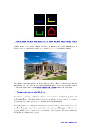 Custom Home Builders Adelaide Reliable Home Builders for Ravishing Homes