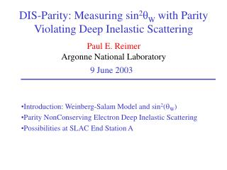 DIS-Parity: Measuring sin 2 θ W  with Parity Violating Deep Inelastic Scattering