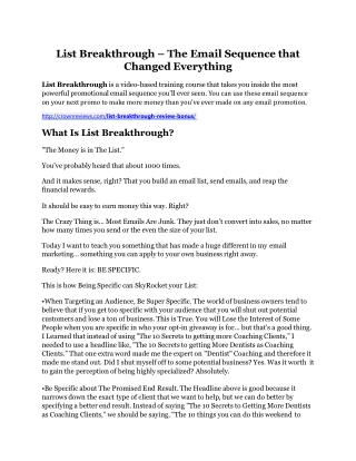 List Breakthrough review & SECRETS bonus of List Breakthrough