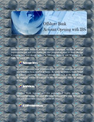 Offshore Bank Account Opening with IBS