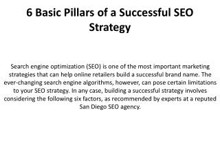6 Basic Pillars of a Successful SEO Strategy