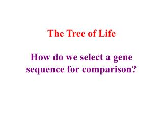 The Tree of Life How do we select a gene sequence for comparison?